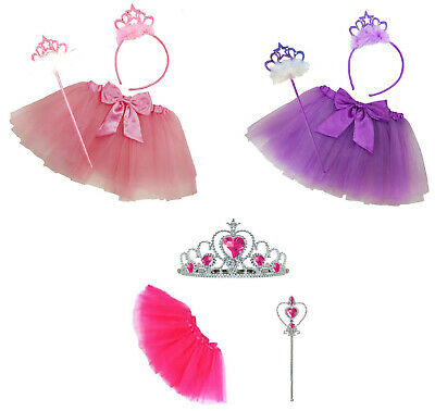 Girls Princess Fancy Dress Up Cosplay Costume Party Belle Accessories Wand Tiara • 3.99£