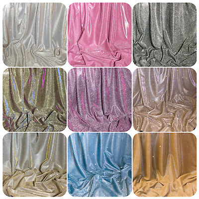 """Sparkly Glitter Stretch Moonlight Fabric 58""""wide Dress Bridal Costumes Backdrop • 6.95£"""
