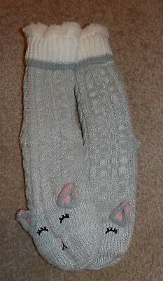 $17.99 • Buy Long Super Fluffy Cozy Soft Warm Gray Cat Slipper Socks Anti-Slip