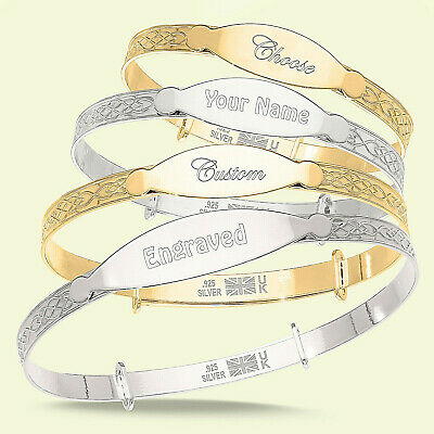 Personalised Engraved Bangle Baby, Children Silver / Gold Bracelet Gift Boxed • 17.99£