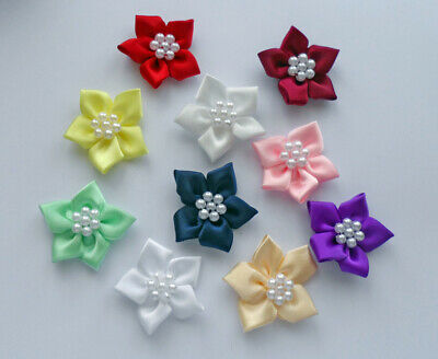Satin Ribbon Poinsettia Flowers With Pearl Beads • 1.80£