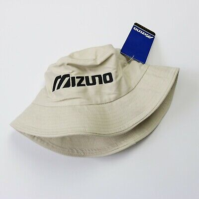 Beige & Black MIZUNO Spell Out Bucket Hat Rave Festival Indie Stone Roses | S/M • 15£