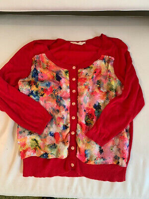 $ CDN50 • Buy  Anthropologie Red Print Cardigan - Size Medium