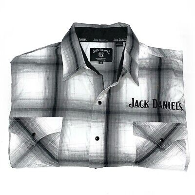 $29.80 • Buy Jack Daniel's Men's XL Long Sleeve Button Up Pearl Snap Shirt Plaid Embroidered