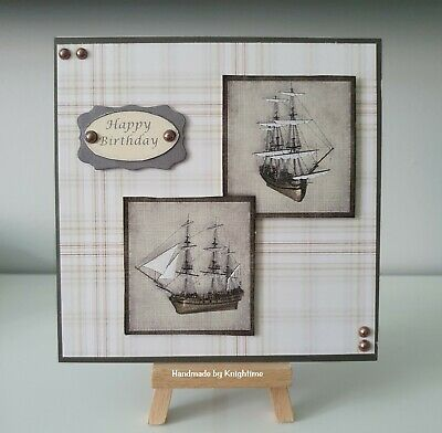Handmade 3D Birthday Card Topper With Sailing Ships • 1.25£
