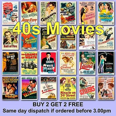 Poster Vintage Movie Posters 1940s 40s Film Poster Films HD Borderless Printing • 5.97£