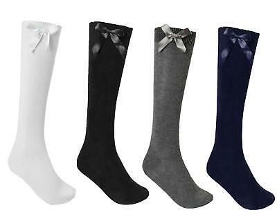 3, 6 0r 12 Pairs Girls  Cotton Rich Knee High School Socks With Bow • 2.99£