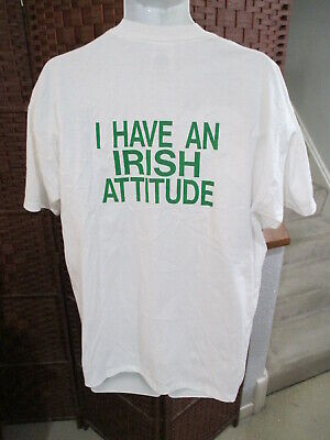$ CDN15 • Buy Vintage 80's 90's I Have An Irish Attitude Double Sided T Shirt Adult XL 50/50