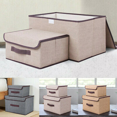 £6.99 • Buy 2 Pcs Large & Small Storage Box Fabric Foldable Clothes Basket Folding With Lid