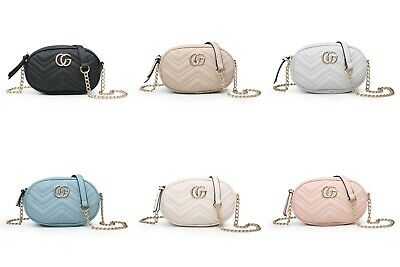 New Women's Cross Body Quilted Bag Chevron Print Chain Detail Shoulder Bag Size • 15.99£