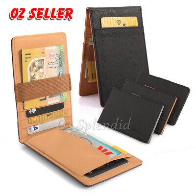 AU8.99 • Buy Wallet Money Mens Womens Black Leather Credit Card Holder Slim Wallet