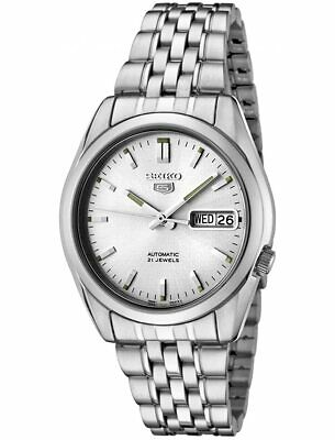 £129 • Buy Seiko 5 Automatic Silver Dial Steel 37mm Case Size Mens Watch SNK355K1 RRP £169
