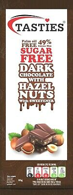 Tasties Sugar Free Dark Chocolate With Hazelnut 85g - (Pack Of 1 To 20) • 3.49£