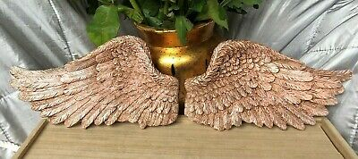 £15 • Buy Angel Wings Ornament Wall Hanging Shabby Chic Pink And Silver