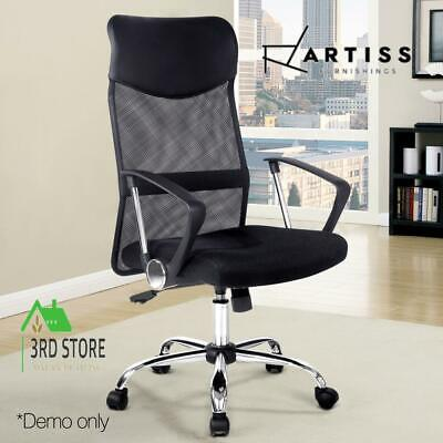 AU120.12 • Buy Artiss Office Chair Computer PU Leather Mesh Chairs Executive High Back Black