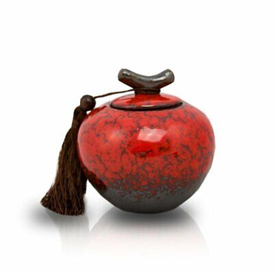 $24.49 • Buy Branch Ceramic Cremation Urn Keepsake For Ashes - Extra Small Crimson Red
