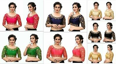 Sari Saree Blouse Party Wear Indian Bollywood Stitched Choli Top Readymade DC • 15£