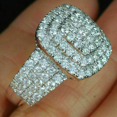 $157.75 • Buy 14K Real White Gold Over Cluster Men's Wedding Band Ring Round 2 CT Diamond