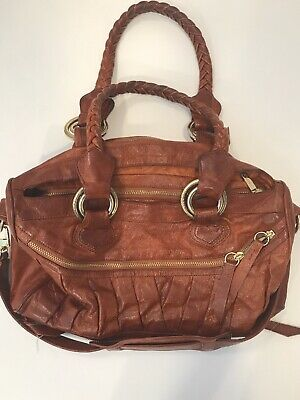 $39.99 • Buy TREESJE DIVINO Brown Leather Tote Shoulder Zipper Purse Bag Retail $625
