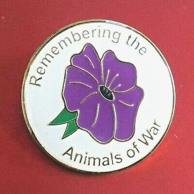 'Remembering The Animals Of War' Purple Poppy On White Background Enamel Badge • 2.50£