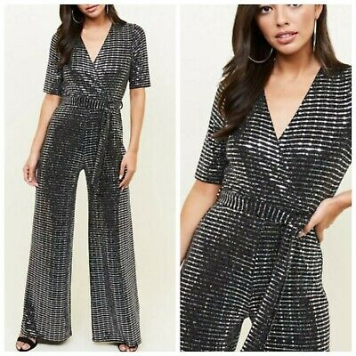 Black And Silver Sequin Jumpsuit Size 8 Newlook • 4£