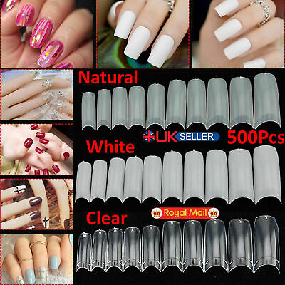 500 Artificial French False Acrylic Nail Art Tips White Clear Natural UV Gel-UK  • 4.39£