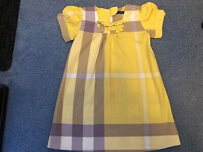 Girls Spring Dress Age 5-6 Years Yellow Check - Short Buttoned Sleeves -Back Zip • 7£