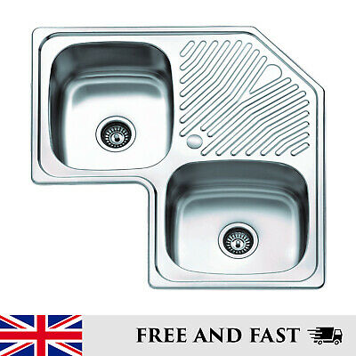 Inset Corner Double Bowl Single Drainer Stainless Steel Kitchen Sink • 324£