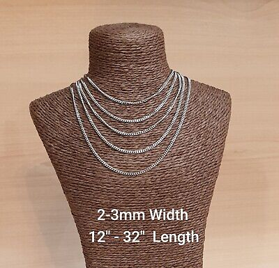 Stainless Steel Silver Curb  Chain Necklace  UK Handmade • 4.15£