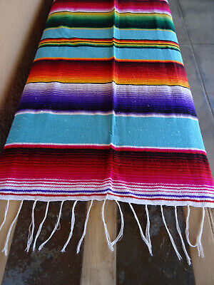 £32.28 • Buy Mexican Serape OMEXS-Turquoise 5'X7' Blanket Table Cover Seat Cover Throw