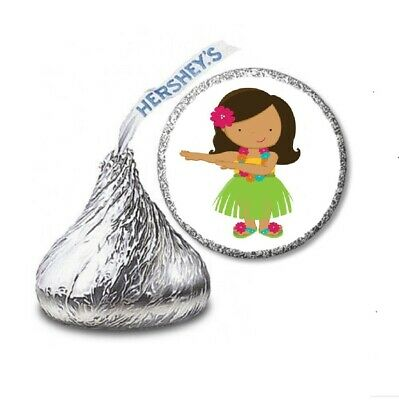 108 HULA GIRL LUAU Birthday Party Favors Stickers Labels For Hershey Kiss • 2.13£