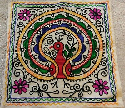 Indian 16x16 PEACOCK Wool Embroidered Ethnic Cushion Cover Suzani Embroidered • 6.99£