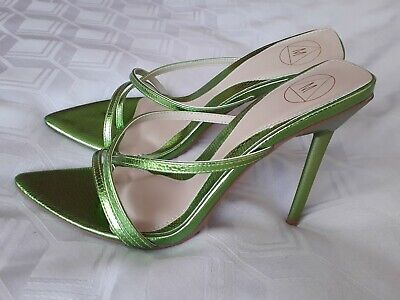 MISSGUIDED Size UK 6 Shiny Green Strappy Slip-on Stiletto Heels Shoes • 19.99£