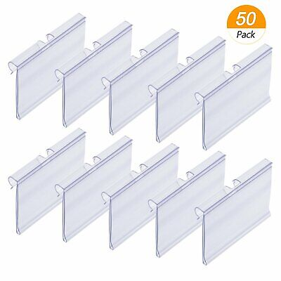 £19.52 • Buy 50x Clear Plastic Label Holders Wire Shelf Retail Price Label Merchandise Sign