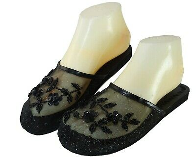 $5.99 • Buy New StarBay Women's Solid Black Color Floral Beaded Mesh Chinese Slippers