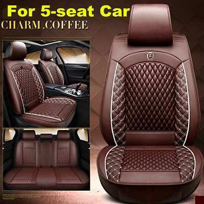$ CDN153.10 • Buy   Luxury Full Set Car Front Rear PU Leather Car Seat Cover Cushion 5D Breathable