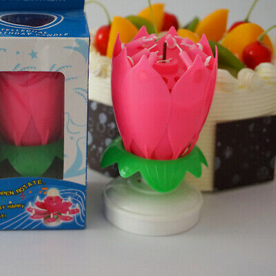 $ CDN10.11 • Buy Music Song With Rotating Candle Lotus Birthday Candle Double (Pink) Birthday