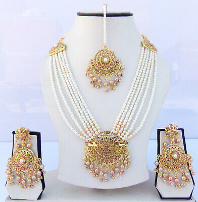 $27.50 • Buy Ethnic Indian Rani Har Jewelry Long Bridal Pearl Cz Necklace Earrings Tikka Set