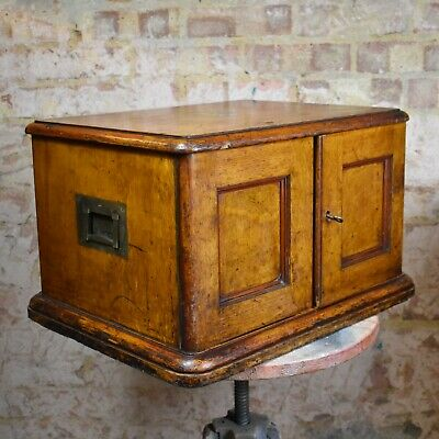 Antique Oak Collectors Cabinet Bank Of Drawers Canteen Campaign Chest • 225£