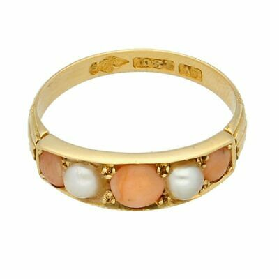 Antique 18Carat Yellow Gold Coral & Pearl Eternity Ring (Size O) 5mm Wide • 399£