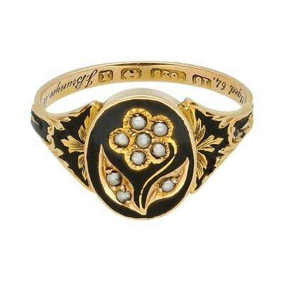£699 • Buy Antique 15Carat Yellow Gold Pearl & Enamel Floral Mourning Ring (Size L 1/2)
