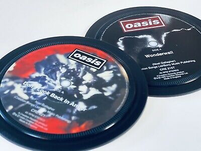 Oasis - 2 Vinyl Record Label Coasters. Wonderwall. Don't Look Back In Anger. • 7£