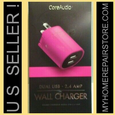 $ CDN11.86 • Buy Us Seller! Free S&h! Core Audio — Pink — Dual Usb — 2.4 Amp Wall Charger —2 Port