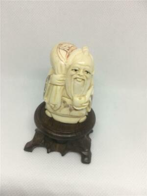£45 • Buy Bovine (Cattle ) Bone Netsuke Man With A Sack On A Stand Scrimshaw Decorated