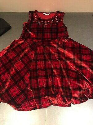 M&co Kids Beautiful Sequinned Red Tartan Check Girls Dress Age 8-9 Years, Exc.co • 2.50£