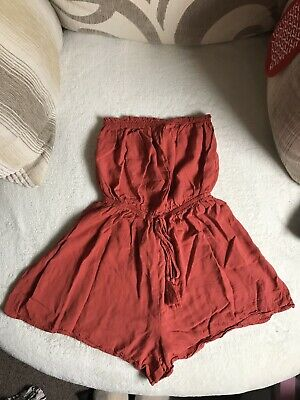 New Look Red Bandeau Playsuit Size 10 • 1.10£