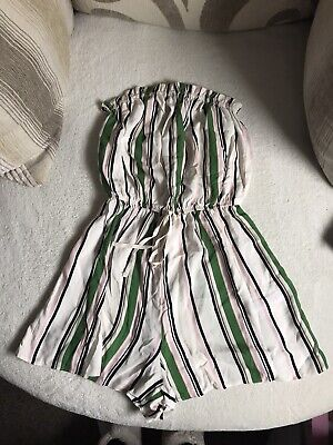 New Look White Stripey Bandeau Playsuit Size 10 • 1.30£