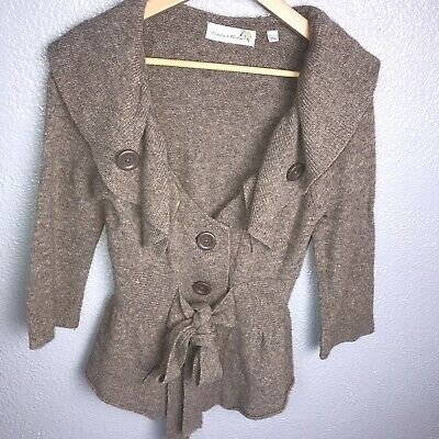 $ CDN6.61 • Buy Charlie & Robin Anthropologie Cardigan Ruffle Detail Button Down Size S Brown
