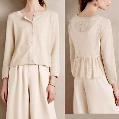 $ CDN30 • Buy Anthropologie Knitted & Knotted Lace Back XS Gold Champagne Afterward Cardigan