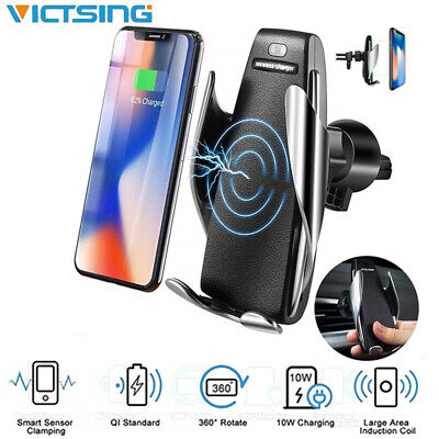 AU18.49 • Buy QI Wireless Automatic Clamping Smart Sensor Car Phone Holder Fast Charger 10W AU